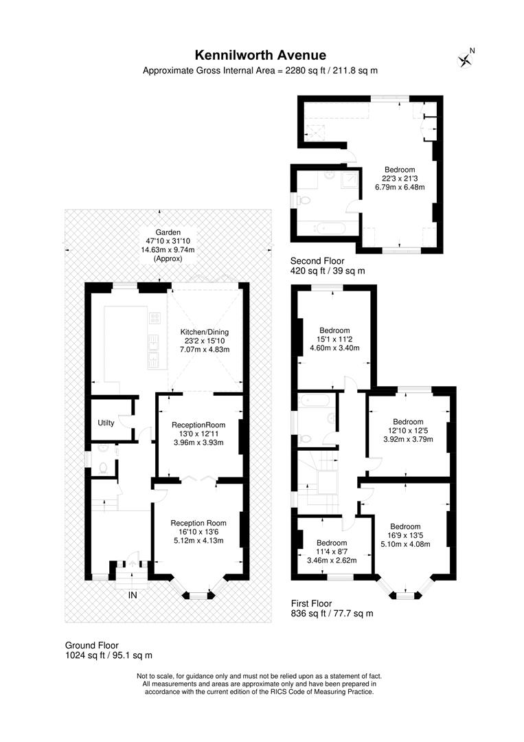 Floorplan for Kenilworth Avenue, Wimbledon